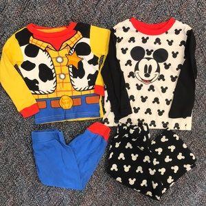 Bundle of 2T Disney pajamas- Woody and Mickey